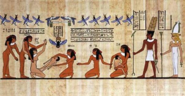 Representación de papiro de una mujer dando a luz, ayudada por otras mujeres y los dioses. (Progresista africano)