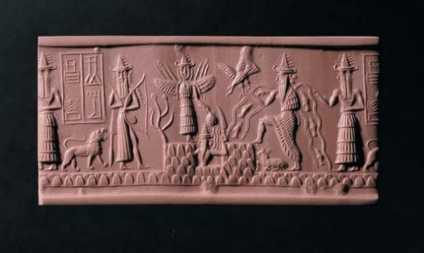 El sello Adda con el dios Ea segundo desde la derecha. (Imagen: Los Fideicomisarios del Museo Británico)