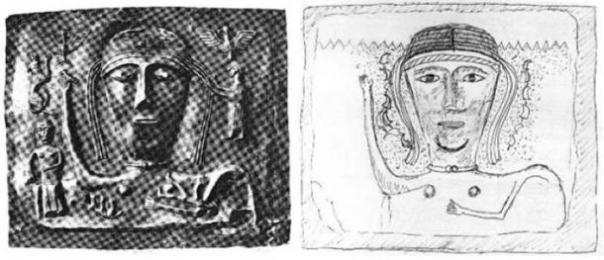 La tercera placa de chakra y la interpretación del autor de cómo se vería la placa faltante. (Autor proporcionado)