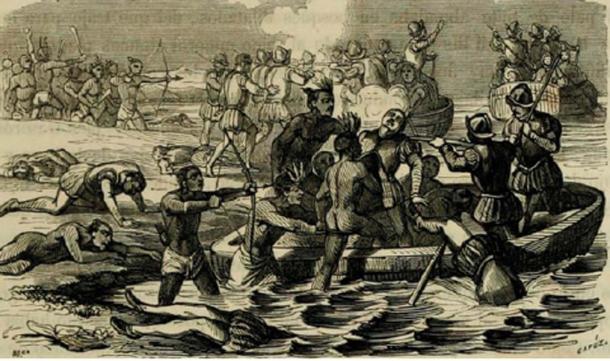La expedición de Francisco Hernández de Córdoba, 1517 (Dominio Público)