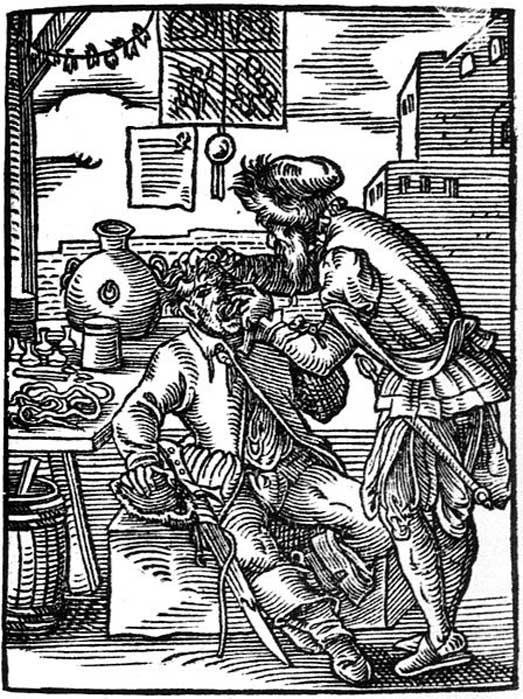 Barbiere-dentista del XVI secolo.