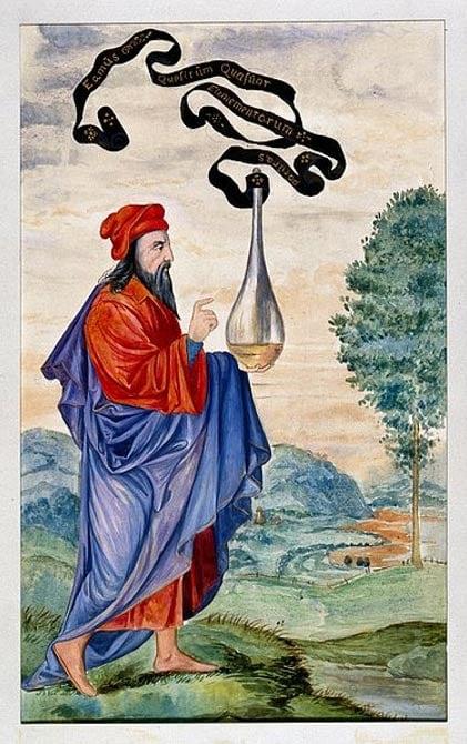 """Una alquímica adepto llevar el vaso de Hermes, que se inscribe """"Vamos a buscar la naturaleza de los cuatro elementos""""."""