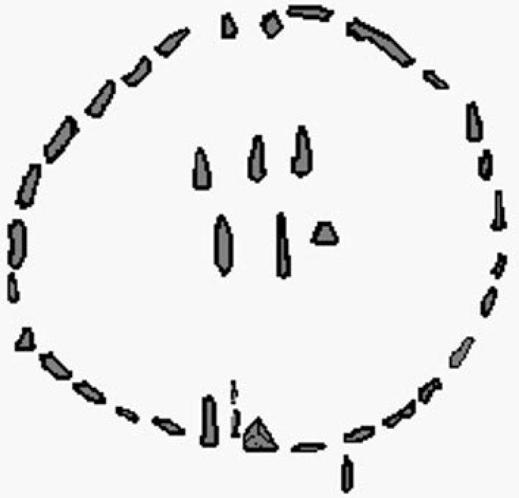 Cenni di posizioni di pietra nel cerchio del calendario.