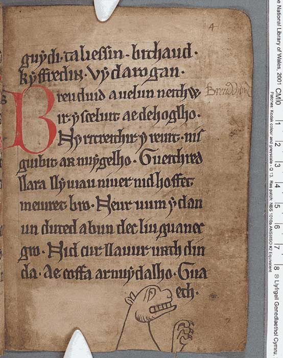 A page from the Black Book of Carmarthen, thought to be the earliest surviving manuscript written solely in Welsh.
