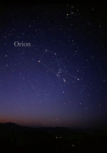 Constellation Orion as it can be seen by the naked eye