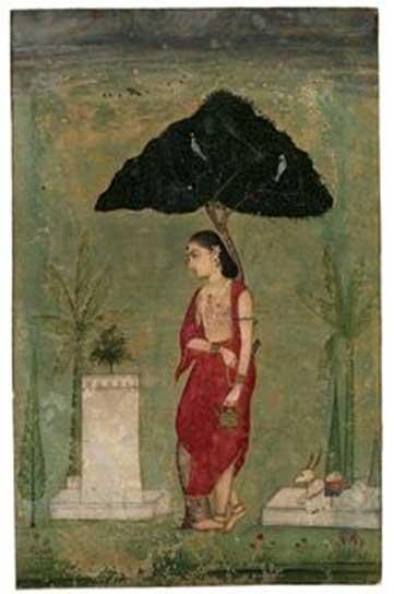 La devozione alla pianta tulsi, basilico; Un asceta signora, 1800, Rajasthan.