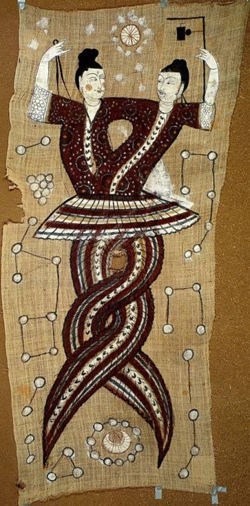 Fu Xi and Nu Wa, the mythological serpents who created humans in Chinese mythology