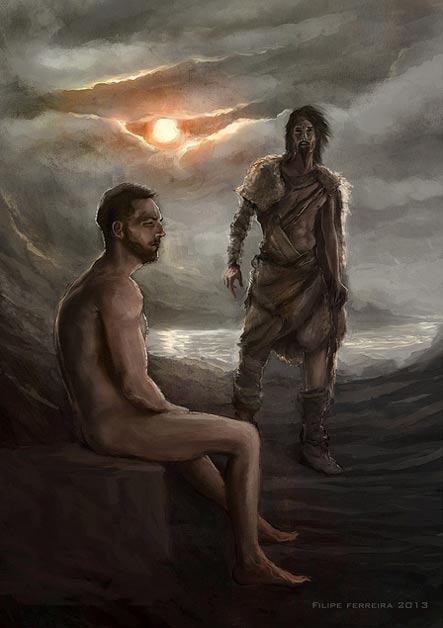 Artistas interpretación de Gilgamesh y Ut-Napishtim.