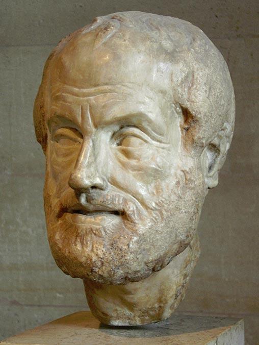 Jefe de Aristóteles.  Copia de la era imperial (siglo primero o segundo) perdió escultura de bronce realizada por Lisipo.