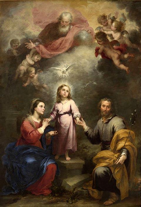Lo Spirito Santo raffigurato come una colomba scende sulla Sacra Famiglia, con Dio Padre e angeli mostrati in cima, da Murillo, (c. 1677).
