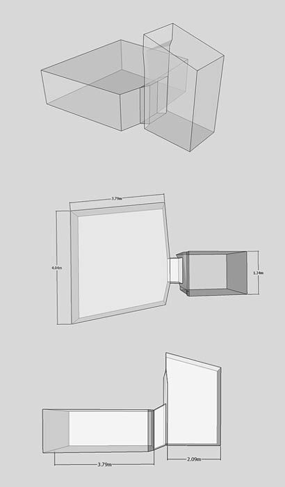 Isometric plan and elevation images of KV36 taken from a 3D model.