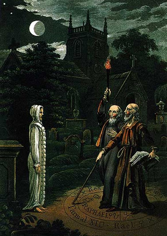 Necromancy: The art of conjuring the dead and communicating with them, image of John Dee and Edward Kelley. From Astrology (1806) by Ebenezer Sibly.