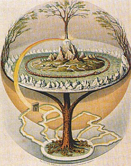 An 1847 depiction of the Norse Yggdrasil (tree of life) as described in the Icelandic Prose Edda by Oluf Olufsen Bagge