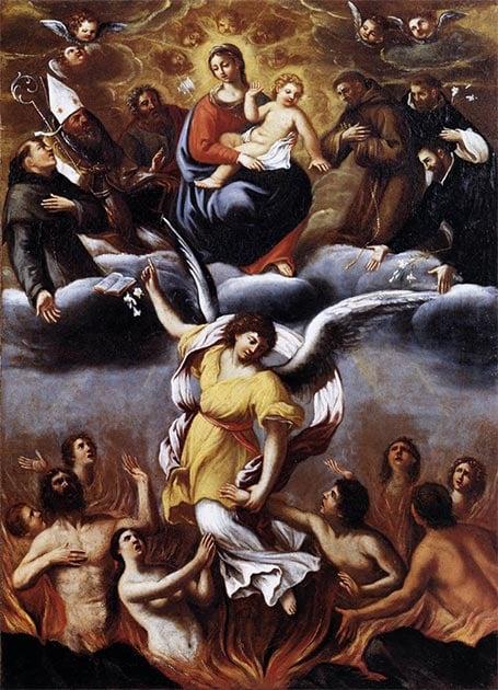 Le tableau 'Un ange libère les âmes du purgatoire' 1610 AD.  (Ludovico Carracci / Domaine public)