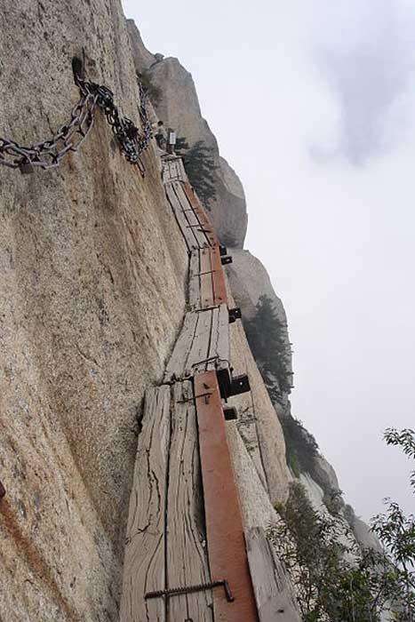 The Perilous 'Plank Road' on Huashan.