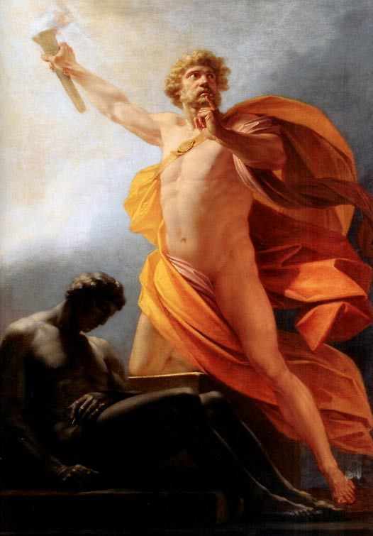 'Prometheus Brings Fire' by Heinrich Friedrich Füger. Prometheus brings fire to mankind as told by Greek poet Hesiod.