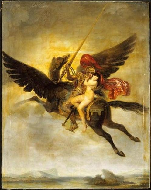Roger délivrant Angélique (1824) de Louis-Édouard Rioult representa la escena de Orlando Furioso, donde Ruggiero rescata Angelique, mientras viajaba en un hipogrifo.