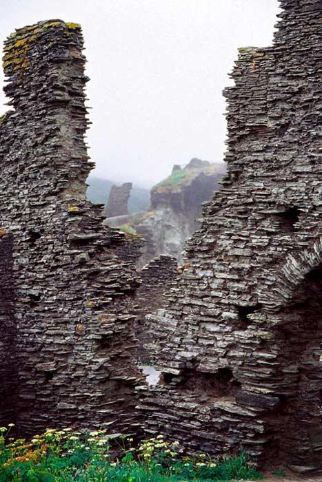 Ruins at Tintagel, England.