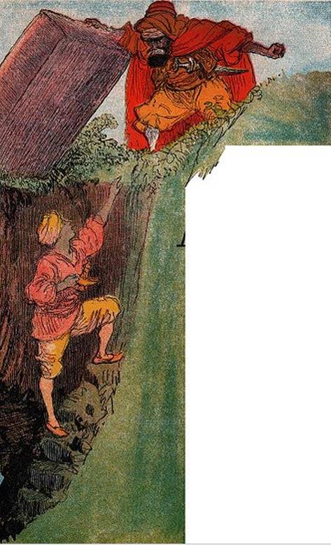 El brujo atrapa Aladdin en la cueva mágica.