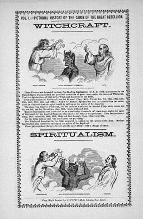 Le spiritisme a été assimilé par certains chrétiens à la sorcellerie.  Ce journal de 1865, publié aux États-Unis, a également accusé le spiritisme d'avoir provoqué la guerre civile américaine.  (Anthon.Eff / Domaine Public)