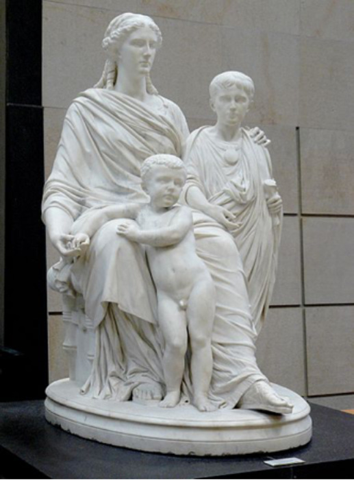 Statue depicting Cornelia with her two sons by Jules Cavelier (1814-1894).