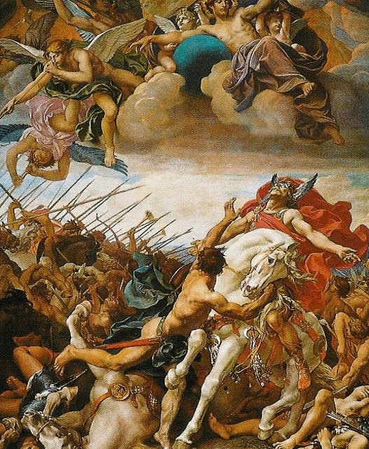 La batalla de Tolbiac, pintado por José Blanc en el siglo 19, representa la guerra entre los francos y Alamannis.