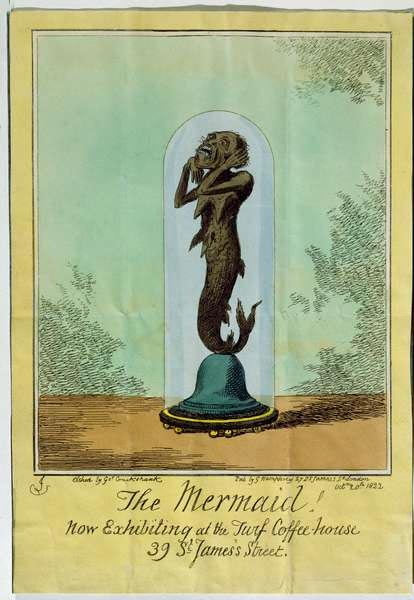 A depiction of what would later come to be known as the Fiji mermaid, commissioned by Captain Samuel Barrett Eades.