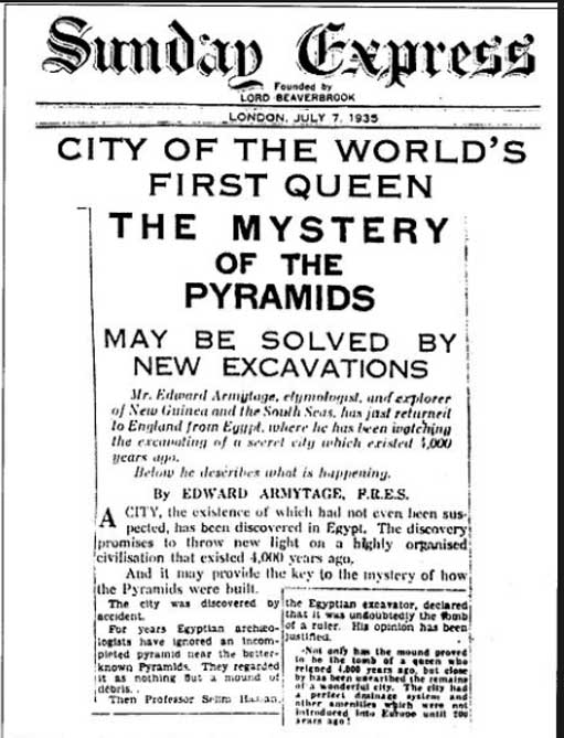 The unearthing of a lost city in Egypt was reported in many papers in 1935, including this report in the Sunday Express on 7 July, 1935 (public domain)