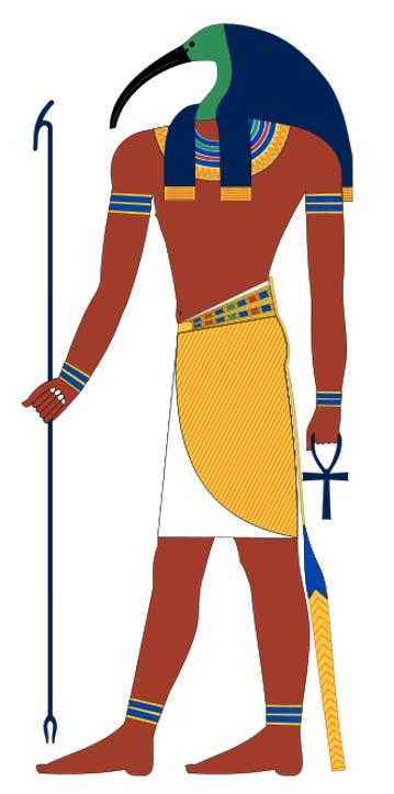 Thoth, dios egipcio antiguo a menudo representado como un hombre con cabeza de ibis.