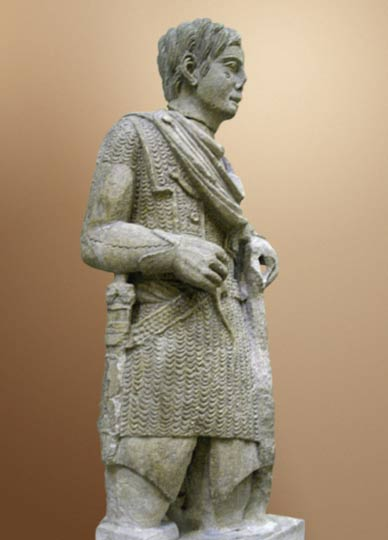 The Vachères warrior, a statue of a Gaulish warrior wearing Roman clothing (ca. 1st century BC)