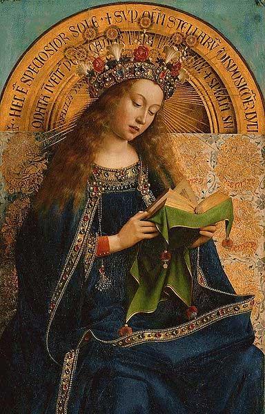 """La Vergine Maria dal Pala di Gand - chiamato """"L'adorazione dell'Agnello"""" (1432) di Jan van Eyck."""