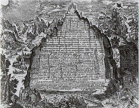 An artist's impression of the Emerald Tablet