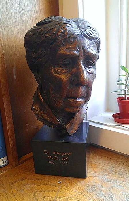 A bust of the Anglo-Indian archaeologist, Egyptologist, and folklorist Dr Margaret Murray, located at the UCL Institute of Archaeology library.