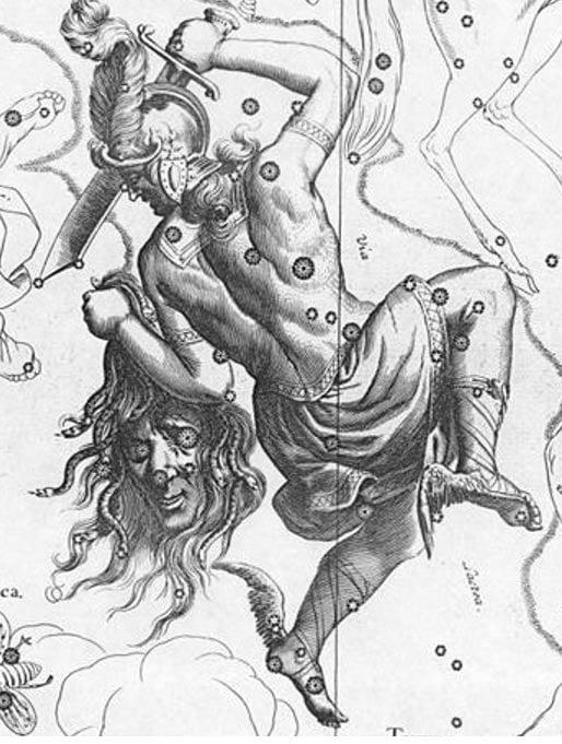 Representación de la constelación de Perseo con la cabeza de Medusa a partir de 1690.