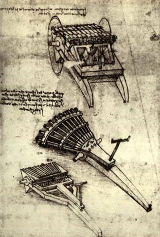 Sketch di Leonardo da Vinci del suo concetto di una pistola multi-barile