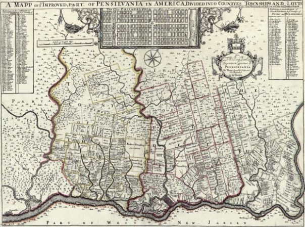 """1729 mapa de Nueva Inglaterra, Nueva York, Nueva Jersey y Pennsylvania.  Conocido entre cartográfica histórica como el """"Post Mapa"""", se trata de Herman Moll importante 1729 mapa de Nueva Inglaterra y las colonias adyacentes."""