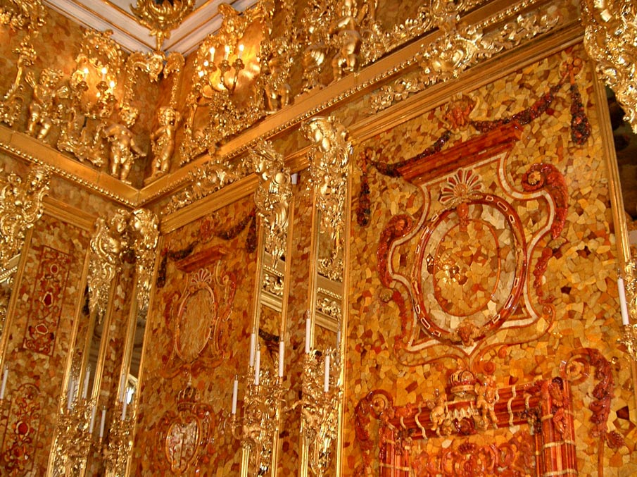A reconstructed segment of the Amber Room {image source: ancient-origins.net}