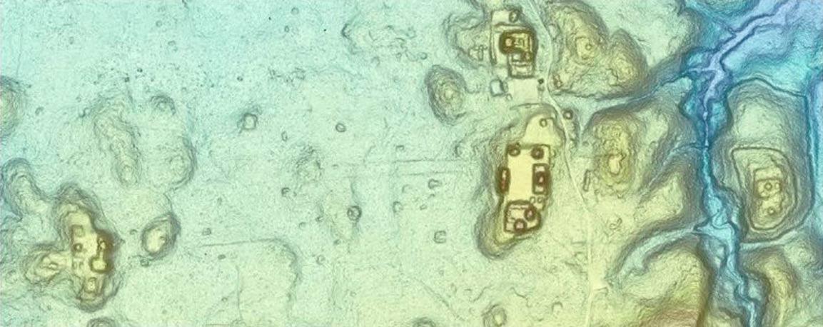 Esta Light Detection and Ranging imagen (LiDAR) muestra los contornos de la zona central de Pilar.  Al extremo derecho es la Ciudadela.