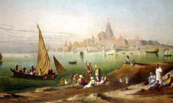 """Pintura por Grinlay de (1826-1830) de """"La ciudad sagrada y templos de Dwarka."""