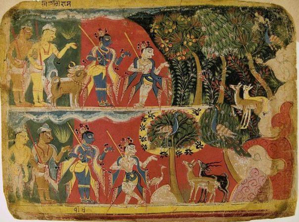 """""""Krishna y Balarama Tomando el ganado a pastar"""" de un Bhagavata Purana Manuscrito (1520-1540), el Museo Rietberg de Zurich"""