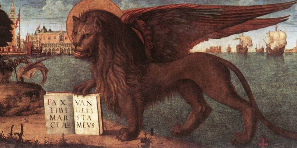 Mark the Evangelist symbol is the winged lion, the Lion of Saint Mark. Canvas painting, circa 1516.
