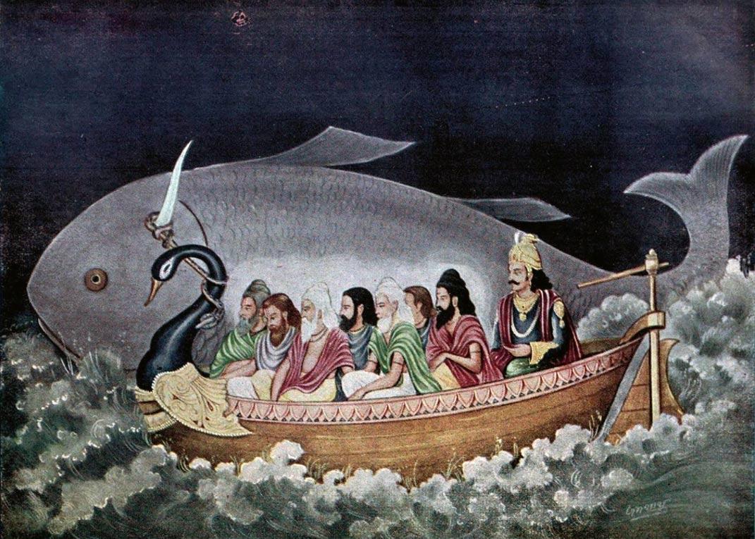 Matsya protecting Svayambhuva Manu and the seven sages at the time of Deluge
