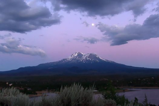 """""""Full moon rising over Mount Shasta, as seen from northern valley."""""""