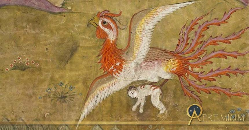 Image from the Shahnameh of the Simurgh (benevolent Persian mythological creature) carrying Zal (held in her claws) to her nest.