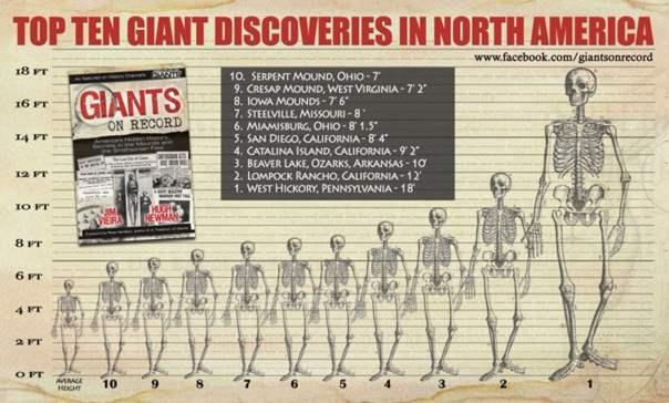 Carta gráfica que muestra las alturas de varios descubrimientos gigantes de América del Norte (autores suministran)