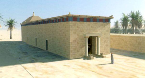 La reconstrucción de lo que el monumento en el Oasis de Siwa habría alguna vez parecía