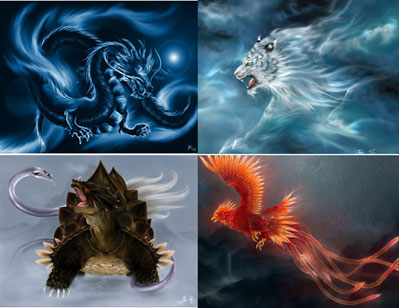 The four mythological creatures of China