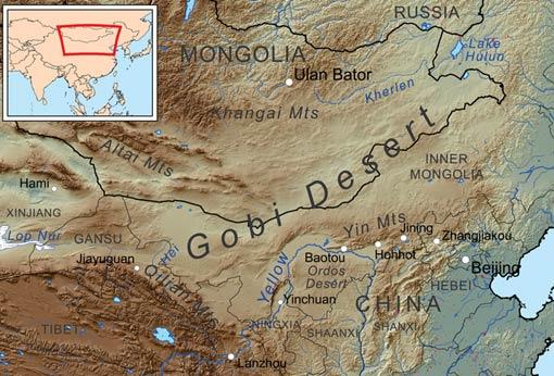The Mongolian Death Worm home - the Gobi Desert