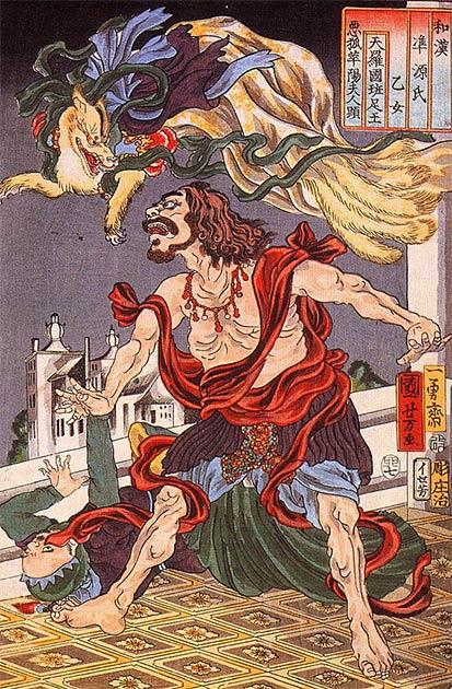 Prince Hanzoku terrorisé par un renard à neuf queues (Utagawa Kuniyoshi / Domaine public)
