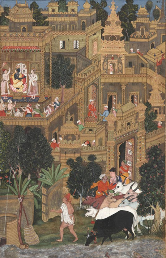 El señor Krishna en Dvārakā.  Acuarela opaca y oro sobre papel de la Harivamsha que narra la vida de Krishna.